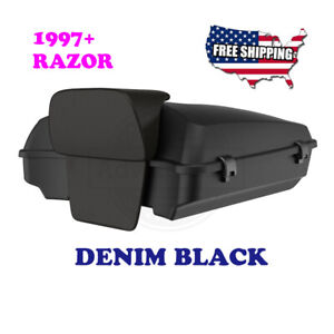 Us Stock Denim Black Razor Tour Pak With Black Latches For Harley Touring 14 20