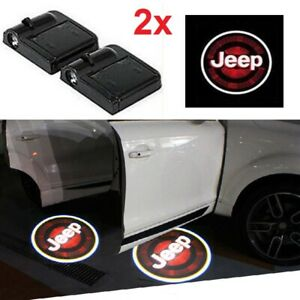 2 X Car Door Welcome Led Lights Courtesy Projector Ghost Shadow Sticker For Jeep