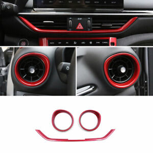 For Kia Forte K3 2019 2020 Red Central Console Air Outlet Vent Cover Trim 3pcs