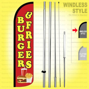 Burger Fries Windless Swooper Flag Kit 15 Tall Feather Banner Sign Rz h