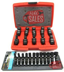 22 Pc 3 8 1 4 Dr Shallow Universal Impact Ball Swivel Socket Metric Set