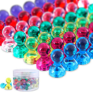 60pcs Magnetic Push Pin Acrylic Strong Magnets 7 Colors Free Durable Container