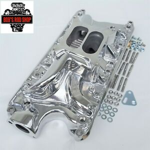 Small Block Ford Polished Aluminum Intake Manifold 260 289 302 Dual Plane
