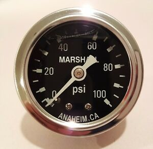 Marshall Gauge 0 100 Psi Fuel Oil Pressure Black 1 5 Diameter Liquid Filled
