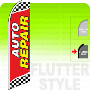 Auto Repair Swooper Flag Feather Banner Sign 11 5 Tall Flutter Style Checker Rb