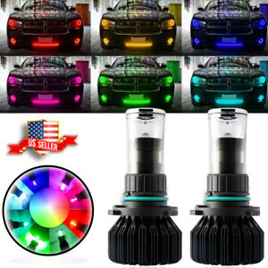 For 2008 19 Dodge Charger Wireless Rgb Led High Beam Headlight Bulbs App Control
