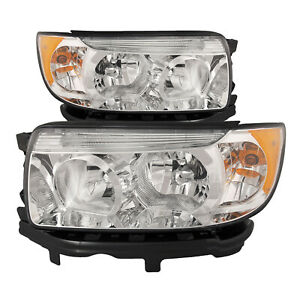 Headlights Chrome Set Fits 06 08 Subaru Forester 07 08 Forester W O Sport Pack