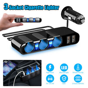 3 Way Car Cigarette Lighter Socket Dual Usb Charger Power Adapter Splitter 12v