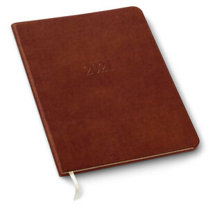 2021 Leather Large Monthly Planner 96 Pages soft Cover 9 75 x7 5 acadia Tan