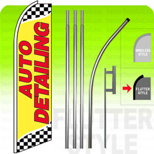 Auto Detailing Swooper Flag Kit Feather Banner Sign 15 Tall Flutter Style Yb