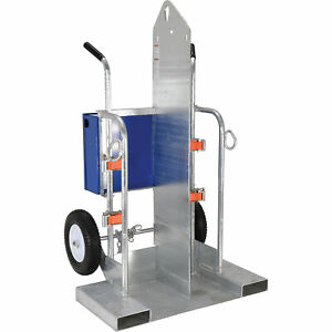 Vestil Welding Cylinder Torch Cart W fork Pocket 500lb Cap Galvanized Cyl 2 ff g
