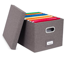 File Storage Organizer Linen Filing Letter Box Office Home School Supplies New
