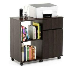 Storage Cabinet Printer Stand With Shelves Rolling Mobile For Office Home