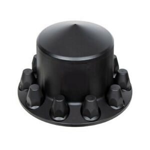 2 Matte Black Pointed Rear Axle Covers W 33mm Thread on Nut Cover Truck Semi
