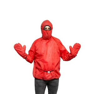 Hooded Protective Coverall With Gloves Washable Reusable Waterproof Fabric