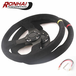 Red Racing Steering Wheel 14 Inch 350mm Suede Leather Flat With Horn
