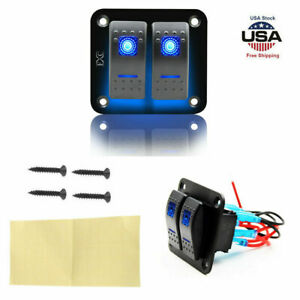 Waterproof On Off Marine Car Boat Rocker Switches Panel 2gang Blue Led Universal