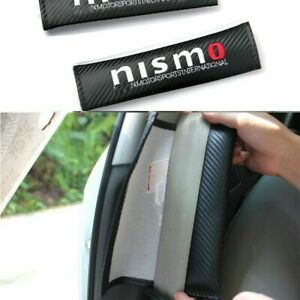 2pcs Nismo Carbon Pattern Car Seat Belt Cover Cushion Protect Shoulder Pads Cars