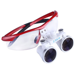 Dental Surgical Binocular Loupes Glasses Lens Magnifier Red 3 5x r