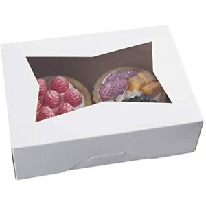 8inch White Cookie Boxes With Window auto popup Rectangular Bakery For Muffins