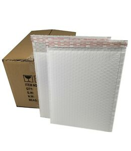 Pack 75pcs In Box 10x15 Inches Usable Large White Poly Bubble Mailer Envelopes