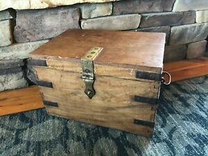 Primitive Antique Wooden Strong Box Treasure Chest Trunk Circa 1900