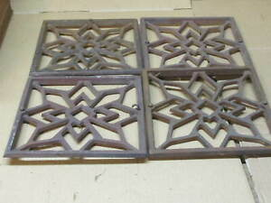 4 Antique Vintage Cast Iron Register Heat Vent Wall Floor Grate Design 8 X8