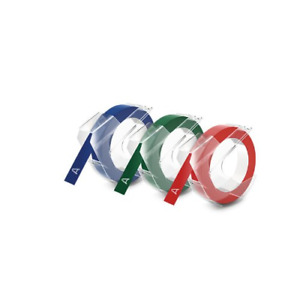 Dymo 1741671 Embossing Tape Red Green And Blue 3 8 inch