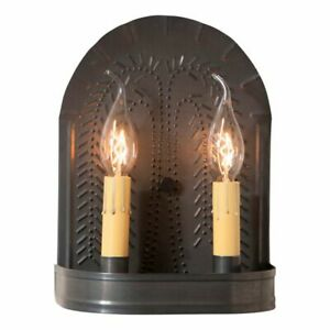 Double Wall Sconce Light With Willow In Kettle Black Tin