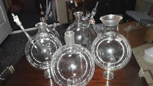 Kontes Ace Glass Round Bottom Flasks With Side Arms Assorted Sizes Lot Of 7