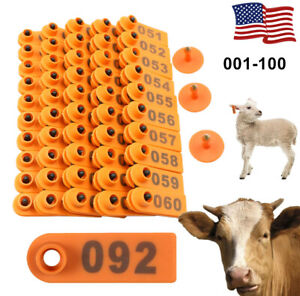 100 Number Sheep Goat Pig Cattle Cow Animal Livestock Ear Tag Marking Labels Us