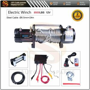 9500lbs 12v Electric Winch Steel Cable Rope Atv Utv Truck Off Road Usa