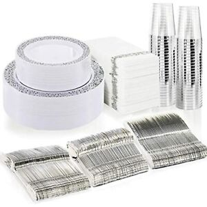 Bucla 350pcs Silver Plastic Plates With Disposable Silverware amphand Napkins