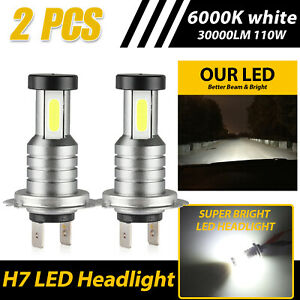 360 Degree H7 Cob Led Headlight Kit 110w 30000lm High Low Beam Bulbs 6000k White