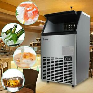 99lbs Commercial Ice Maker Machines Cube Stainless Steel Bar Restaurant Zokop