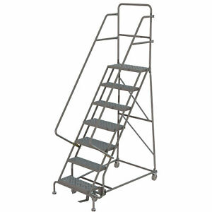 7 step Steel Rolling Ladder W perforated Steps Gry 24inwx10ind Plat 450lb Cap