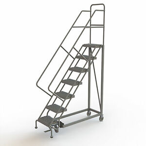 7 step Steel Rolling Ladder W serrated Steps Gry 70inh Top Step 16in 450lb Cap