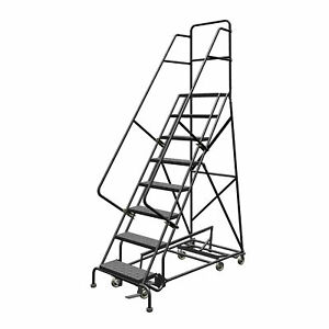 8 step Steel Rolling Ladder W perforated Steps Gry 80inh Top Step 24in 450lb Cap