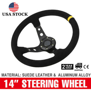350mm Deep Dish 6 Bolt Suede Leather Jdm Sport Racing Drifting Steering Wheel Us