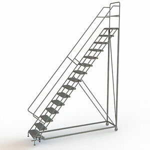 15 step Steel Rolling Ladder W serrated Steps Gry 150inh Top Step 24in 450lb Cap