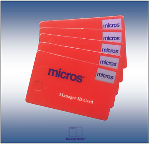 Package Of 5 Genuine Micros Oracle Magnetic Stripe Red Manager Id Cards