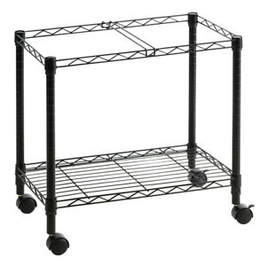 Metal Rolling File Cart Hanging Folder Storage Organizer Black