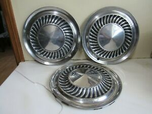 Vintage Set Of 3 1959 1960 Ford Thunderbird Galaxie Fairlane Hubcaps