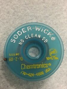 Chemtronics 60 2 10 Soder wick No clean Flux Sd 060 Esd 10 Spool 2 New
