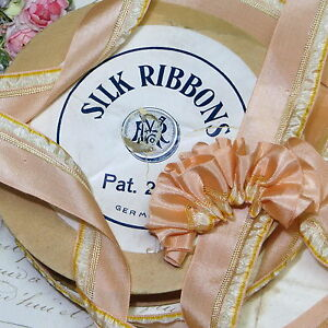 1y Antique Silk Ombre Ribbon French Ruching Doll Dress Rosette Trim Peachy Pink