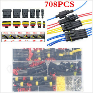 708pcs Motorcycles Sealed Electrical Wire Cable Connectors Plug Terminals Kits