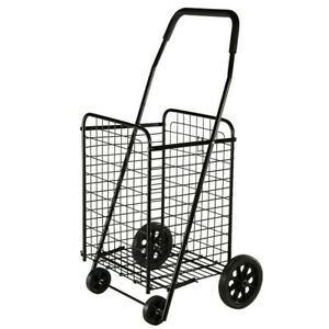 Folding Shopping Cart Black Hand Truck Grocery Laundry Travel W swivel Wheels