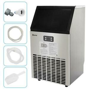 Commercial Ice Maker 99lbs Stainless Steel Ice Cube Machine Built in Restaurant