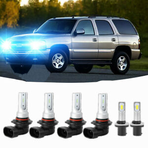 6x Led Headlights Fog Lights Kit For Chevy Silverado 1999 2002 Tahoe 2001 2006