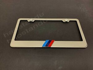 1x Tri Color 3d Emblem Stainless Steel License Plate Frame Rust Free Screw Cap